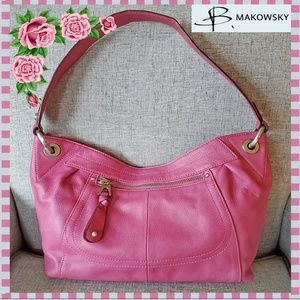 B. Makowsky Pink Leather Handbag Purse
